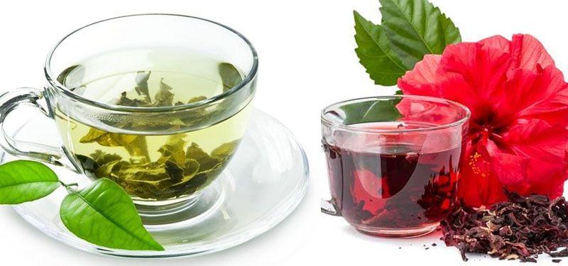 Chá verde com hibisco